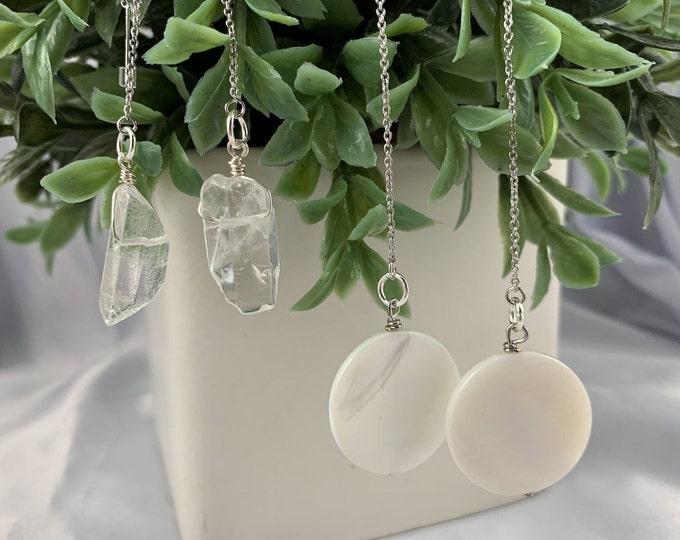 White Shell or Clear Quartz Silver Threader Earrings