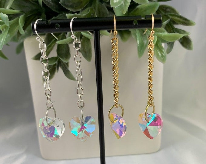 Iridescent Heart Dangle Earrings
