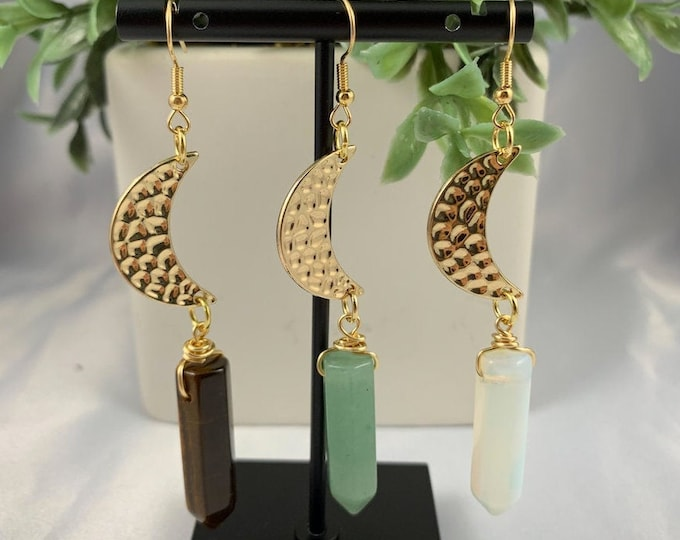 Crystal Point Gold Moon Dangle Earrings