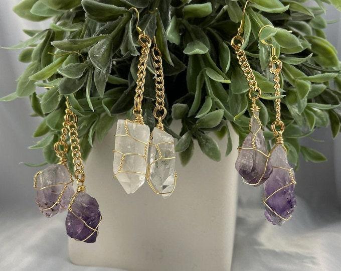 Amethyst or Clear Quartz Crystal Earrings, Dangle Earrings, Gold Earrings, Amethyst, Clear Quartz, Crystal Jewelry, Crystal,Crystal Earrings