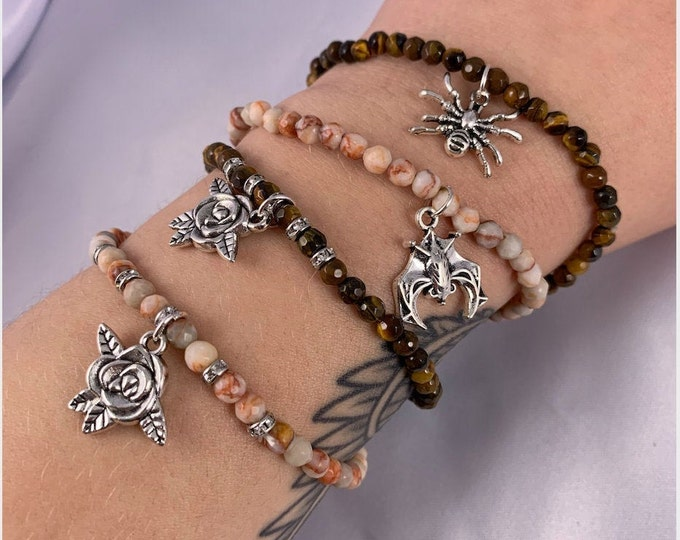 Assorted Charm Faceted Stone Bracelet
