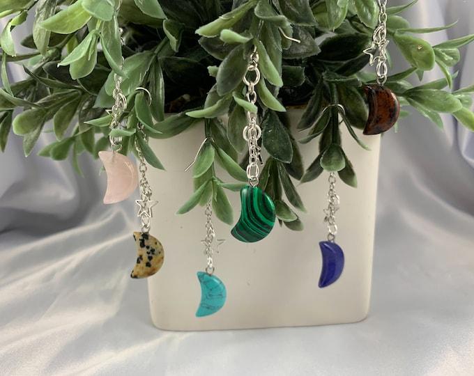 Crystal Moon & Stars Silver Earrings