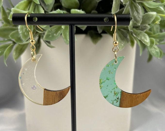 Moon Sparkle Gold Dangle Earrings
