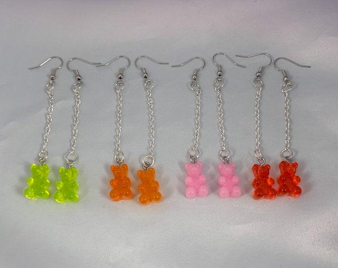 Assorted Gummy Bear Dangle Silver Earrings, Gummy Bear Jewelry, Silver Earrings, Chain Earrings, Statement Earrings, Resin Gummy Bears