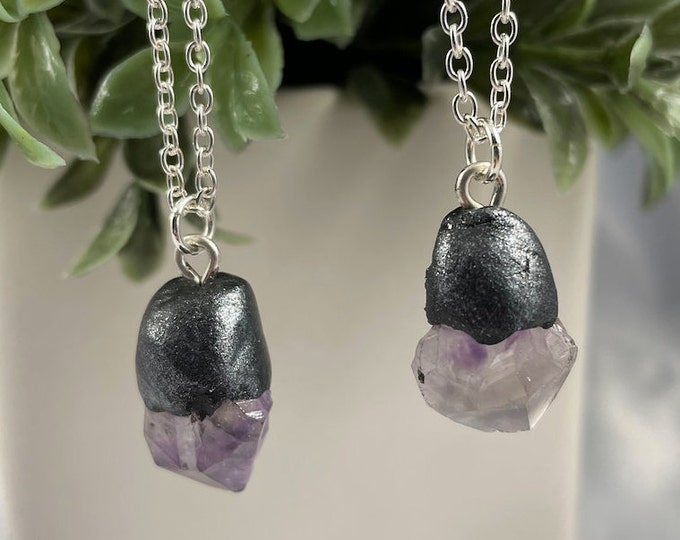 Amethyst Crystal Silver Necklace