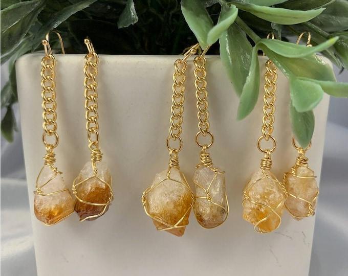 Citrine Gold Dangle Earrings