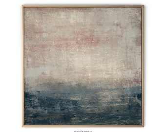 """Fine art PRINT on Canvas of original oil painting """"Dark sunset"""". An abstract seascape in pink, beige and blue shades.  Extra large wall art"""