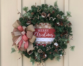 Wreath 32cm Gisela Graham Christmas Wire Ring with String//Holly//Cones