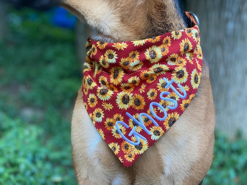 Large Dog Accessories Halloween Dog Bandana Fall Dog Collar Floral Bandana Personalized Fall Sunflower Over the Collar Dog Bandana