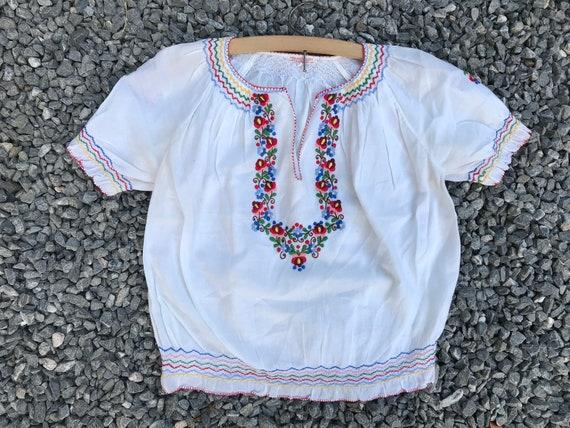 Rare Antique 30s Hungarian Cotton Gauze Blouse Kam