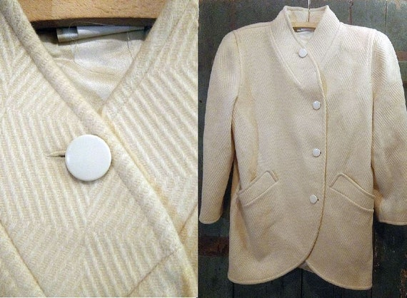 1970s Wool Cream Courreges Coat / French Couture C