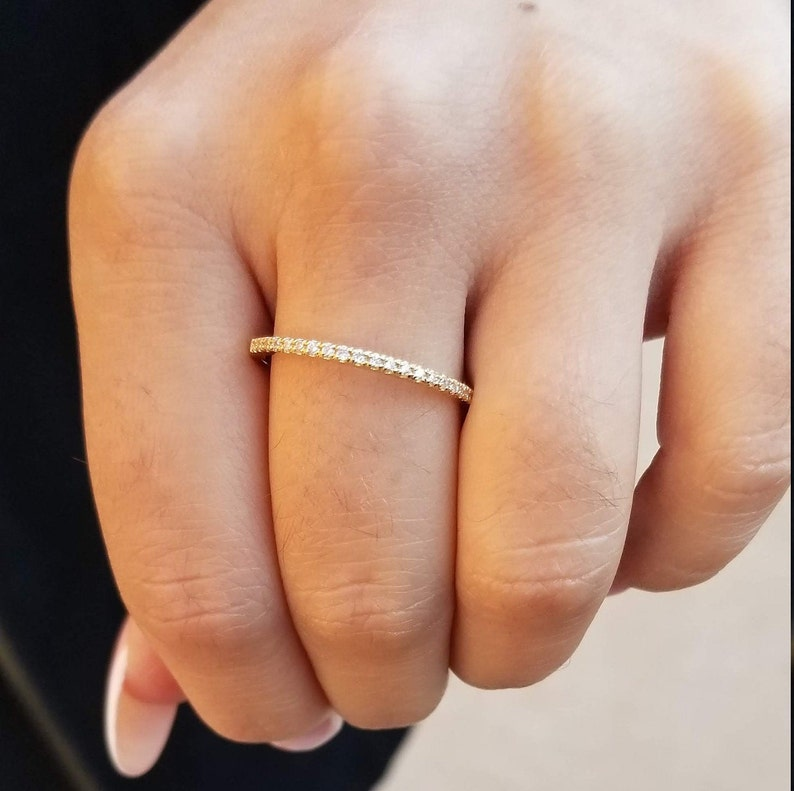 14 k yellow gold dainty ring with pave set CZ/'s