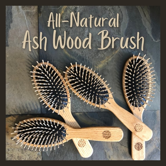 NATURAL WOODEN Oval Brush / Ash Wood / Pure Natural Rubber / Vegan / Eco-Friendly / For All Hair Types