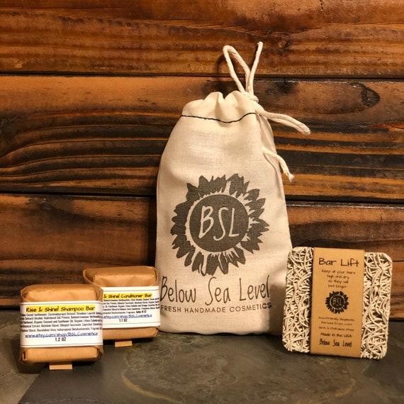 SHAMPOO BAR TRAVEL Set / Solid Shampoo Bar, Conditioner Bar, & Organic Cotton Bag / pH Balanced / Sulfate Free