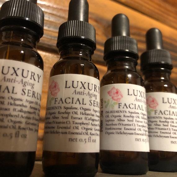 LUXURY FACIAL SERUM Anti-Aging / Rose Otto, Helichrysum, Geranium & Frankincense Essential Oils / Argan, Jojoba, and Rosehip Oils