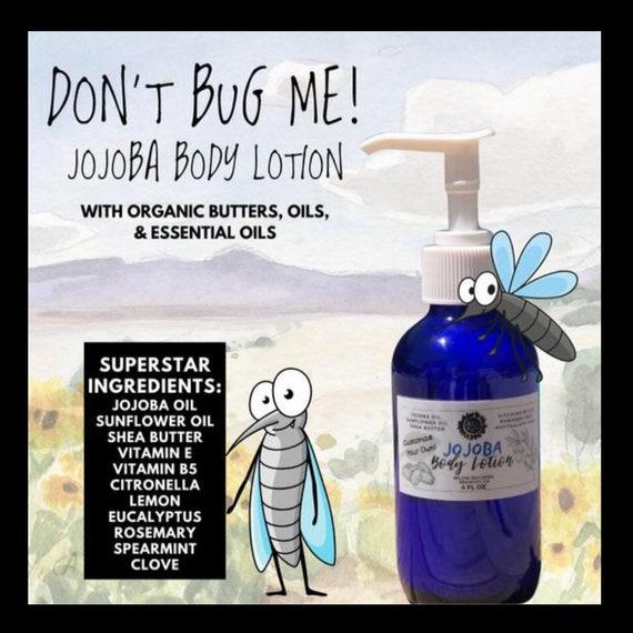 DON'T BUG ME! Jojoba Body Lotion / Jojoba Hand & Body Lotion / Available in Blue Glass Bottle or Refill