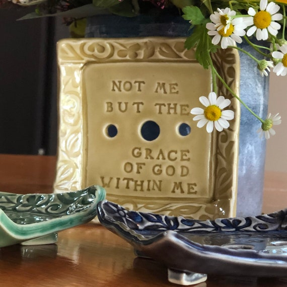 SOAP DISH / Draining Soap Dish / Choose from 7 Different Phrases and 3 Different Colors / Handmade Ceramic