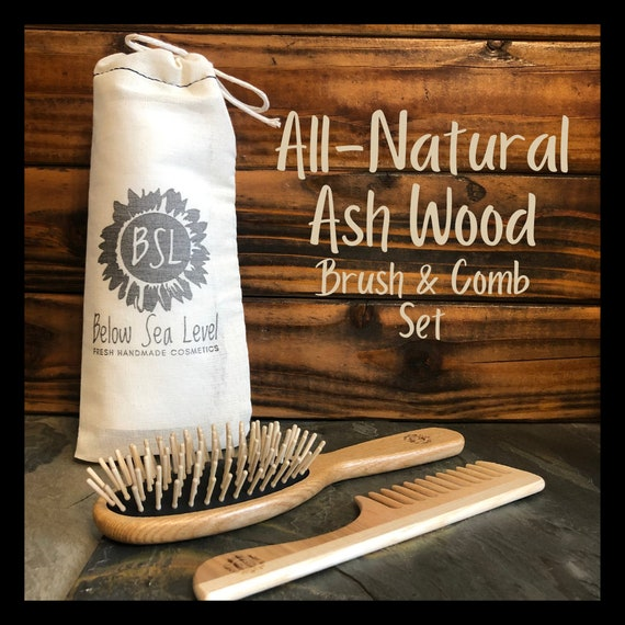 NATURAL WOODEN Oval Brush and Wide Tooth Comb Set / Handmade by TEK / Ash Wood & Natural Rubber Brush / Comb with Handle / Eco-Friendly