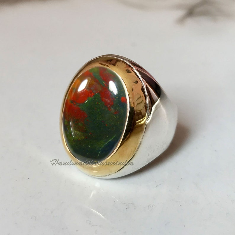 Gift Handmade Signet Ring Mens Bloodstone Signet Bloodstone Ring Bloodstone Ring Mens Signet Ring Mens 2Tone Ring Men Gemstone Ring