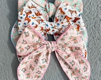 Farm Animals Floral Sailor bow // Hair Clip or Nylon Band // Choose from Horse, Pig, & Cow