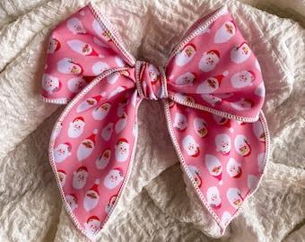 Multi-Santa Claus Sailor Bow // Hair Clip or Nylon Band // Design by Hey Cute Design