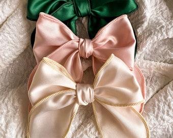 Holiday Satin Sailor bow // Hair Clip or Nylon Band // Choose from 3 colors // Christmas Bows