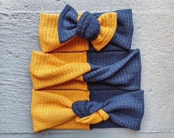 Mommy & Me Waffle Knit Bow and Headband Set // WVU Mountaineers Gameday bows // Michigan bows