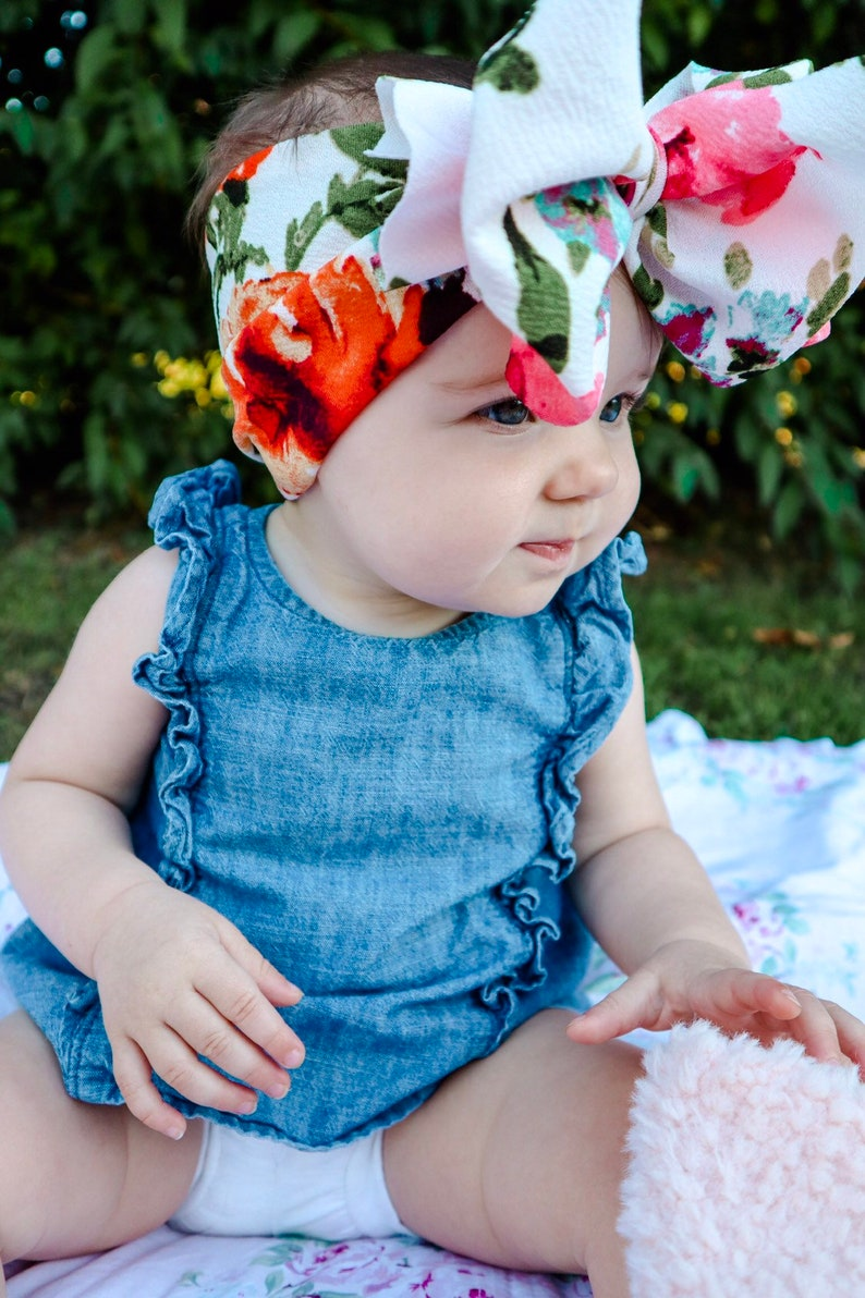 Headband or Clip Blossom Watercolor Floral Baby Bow