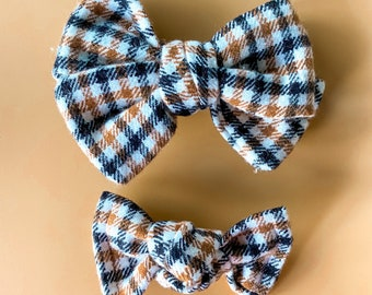 Fall Flannel Pinwheel or Knotted Bows- Piggie set or single