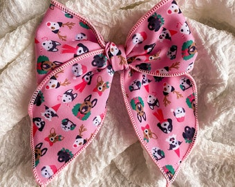 Holiday Christmas Puppies Sailor Bow // Hair Clip or Nylon Band // Design by Hey Cute Design