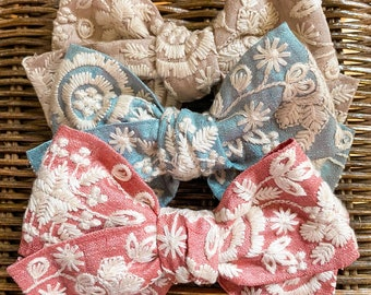 BRIDGERTON Floral Vintage Embroidered Bow // THREE Colors // Hair Clip or Nylon Band