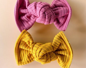 Autumn Rib Knit Knotted Bows- Piggie set or single // Pick Your Color Rose or Mustard/Gold