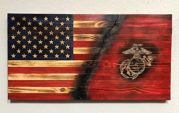 Rustic Navy Flag  Torched Wood 37X19  Wooden Flag  Wood Flag  Rustic Flag