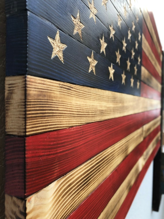 Handcarved Wood American Flag Wall Art Décor Rustic Handmade Etsy