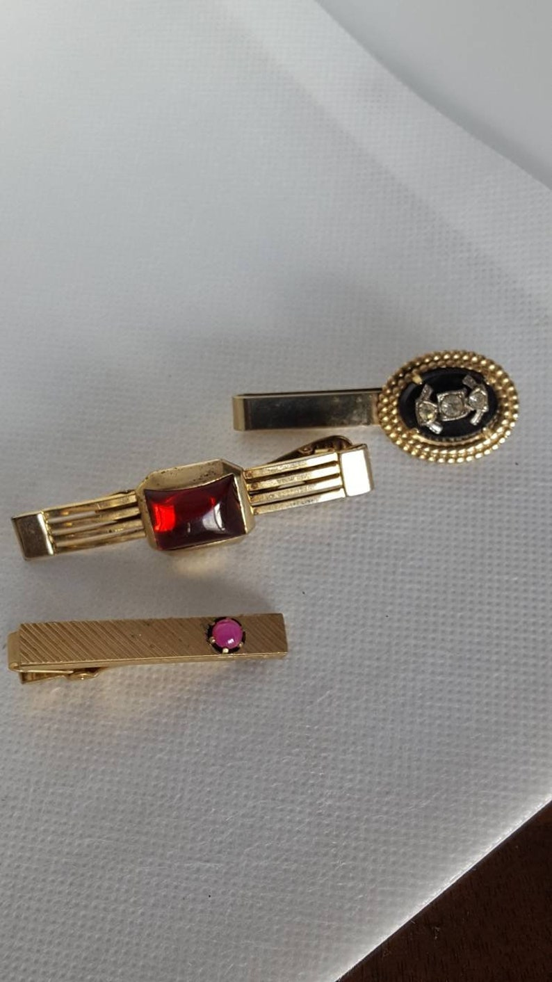 Vintage Gold Tone Silver Tone Metal Collection of Mens Tie Clips Star Sapphire Ruby Glass And Rhinestones