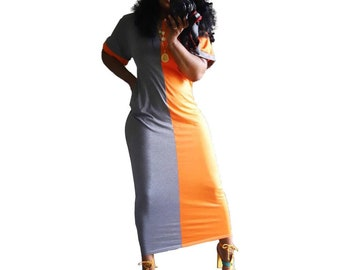 Land of Nostalgia Plus Size Women's Splicing Colors Casual Dress