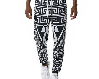 Land of Nostalgia Plus Size Geometry Print Men's Trousers Jogger Pants