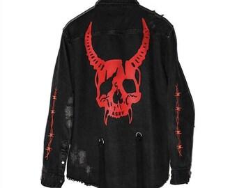 Land of Nostalgia Plus Size Men's Harajuku Demon Skull Rock Punk Denim Jacket