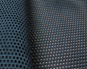 BLUE PERFORATED suede leather sheets/blue leather with perforated texture gold shine pre-cut pieces/perforated pattern design leather sheets