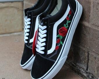 Benutzerdefinierte Rose Applique Vans Vans Rosen Damen