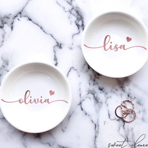 Rose Gold Jewelry Dish Personalized Bridesmaid Gift Maid Of Etsy