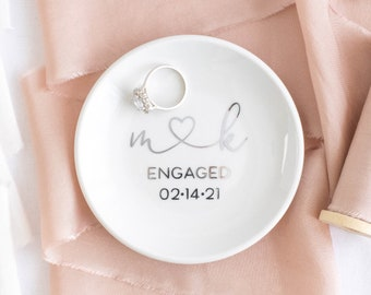 Engagement ring dish engagement ring holder engagement gifts for couple engagement gift for best friend personalized gift for her ring tray