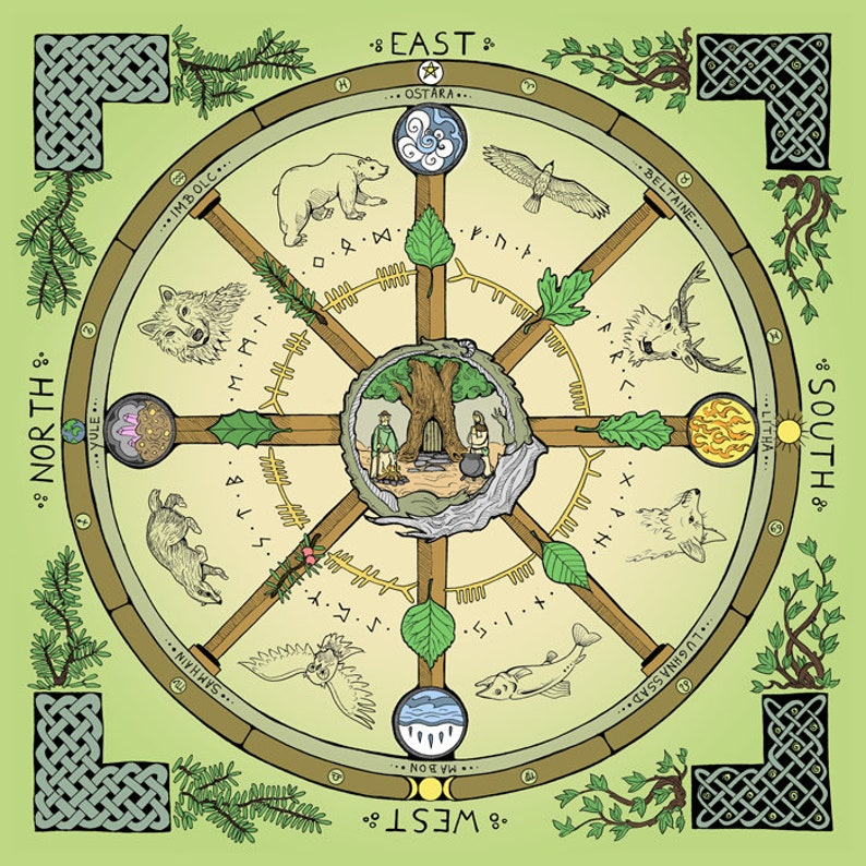 Wheel of the Year  Altar Cloth image 0