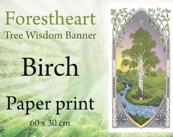 Birch Tree, Tree of Life, Tree Wisdom Banner, 60 x 30 cm, eco-friendly, high-quality art print, Pagan, Celtic, Druid Ogham