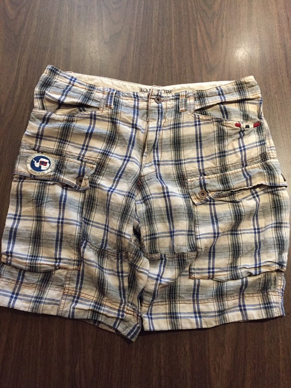 1990s Vintage Plaid Beach Cargo Shorts | 90s NAPAP