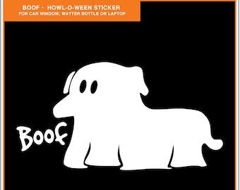 Ghost Dog: Halloween Dog Sticker, Car Window Sticker, Gift for Dog Lover, Window Decal, Laptop Decal, Dog Car Window Sticker