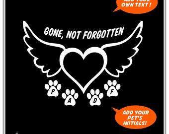 Pet Memorial, Pet Loss, Pet Tribute: Custom Car Window Decal