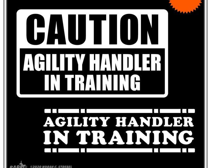 Featured listing image: Agility Handler In Training: Dog Agility Car Window Sticker, dog sports, dog decals, dog stickers, laptop sticker, dog breed stickers