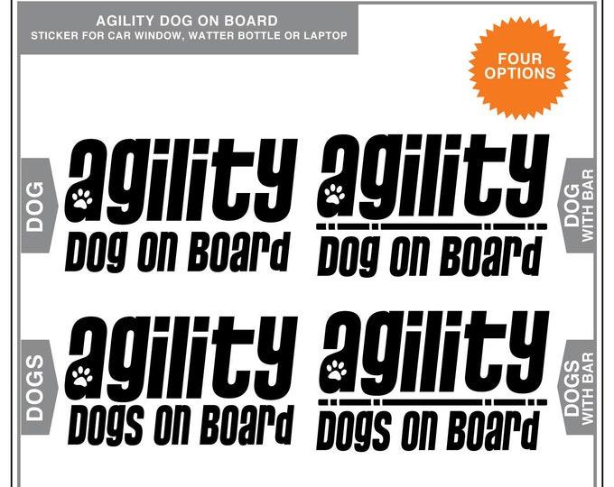 Featured listing image: Agility Dog on Board: Dog Agility Car Window Sticker, dog sports, dog decals, dog stickers, laptop sticker, dog breed stickers