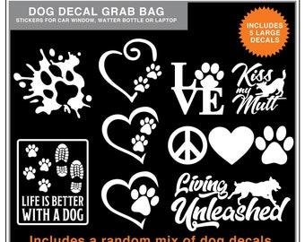 Dog Decal Grab Bag: 5 Random Dog Decals, dog car window stickers, random mix of stickers of dog themed designs